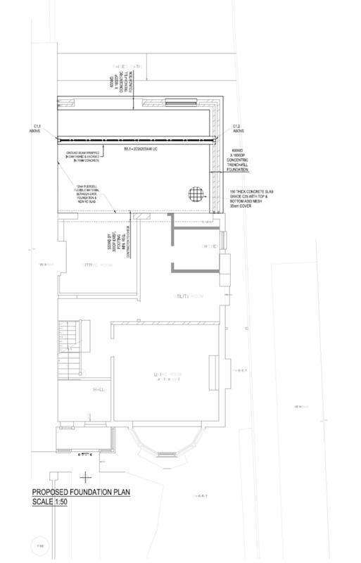 Image 12 - Rear extension. Foundation Plan. Redbridge. East London.
