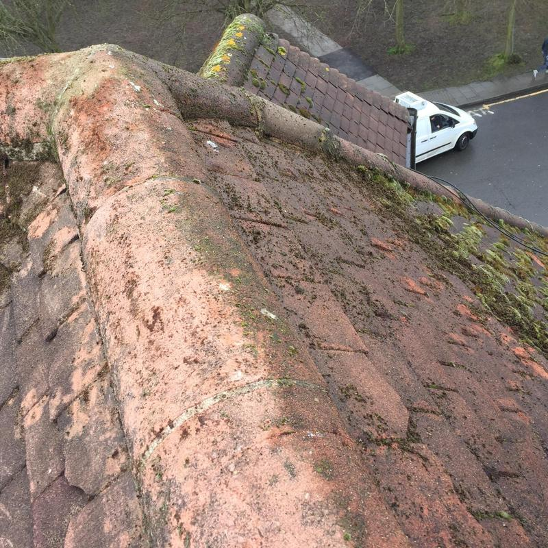 Image 27 - the team removing heavy moss of roof