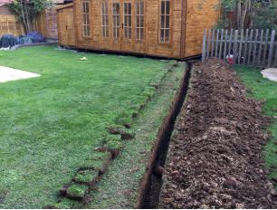 Image 16 - armoured cable run to power new office to rear of garden