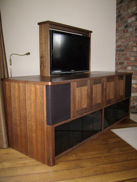 Image 46 - Bespoke media cabinet with automated tv lift .