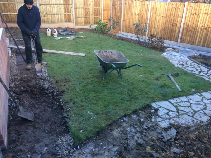 Image 6 - Before large rear garden landscape patio area Coventry phase 2