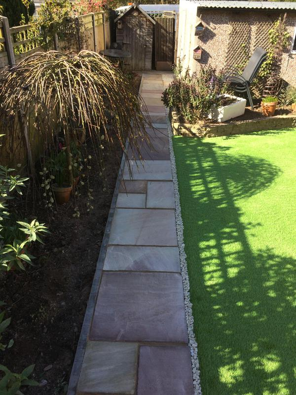Image 12 - Indian sand stone path and Astro turf rear garden Coventry 2019