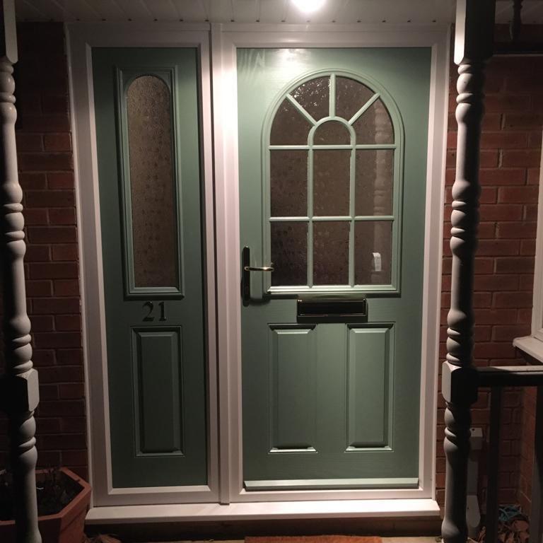 Image 9 - Composite door with composite side screen. Rosewood.