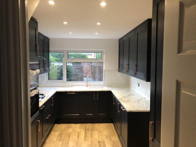 Image 8 - Full kitchen Refurbishment, new floor tiles wood effect new spot lights, metro tiles backsplash