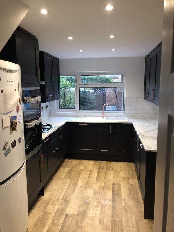 Image 9 - Full kitchen Refurbishment, new floor tiles wood effect new spot lights, metro tiles backsplash