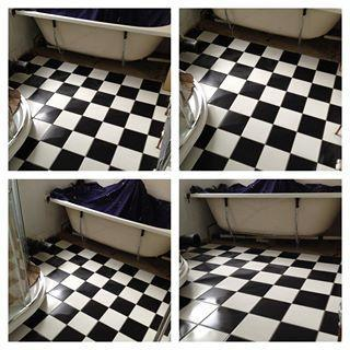 Image 7 - Victorian style black and white satin with grey grout from Topps Tiles