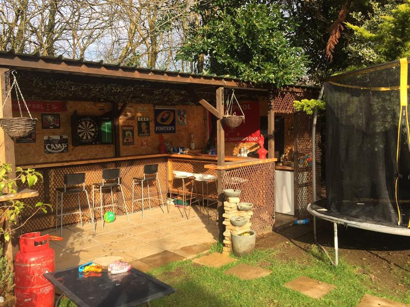 Image 11 - Roby Rd, garden bar with metal corrugated roof and buff riven flagged floor