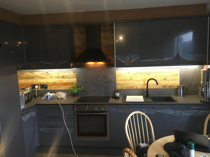 Image 17 - Fully finished kitchen, we used old pallets which were sanded down fitted and varnished to give it a rustic feel between the wall and base units.