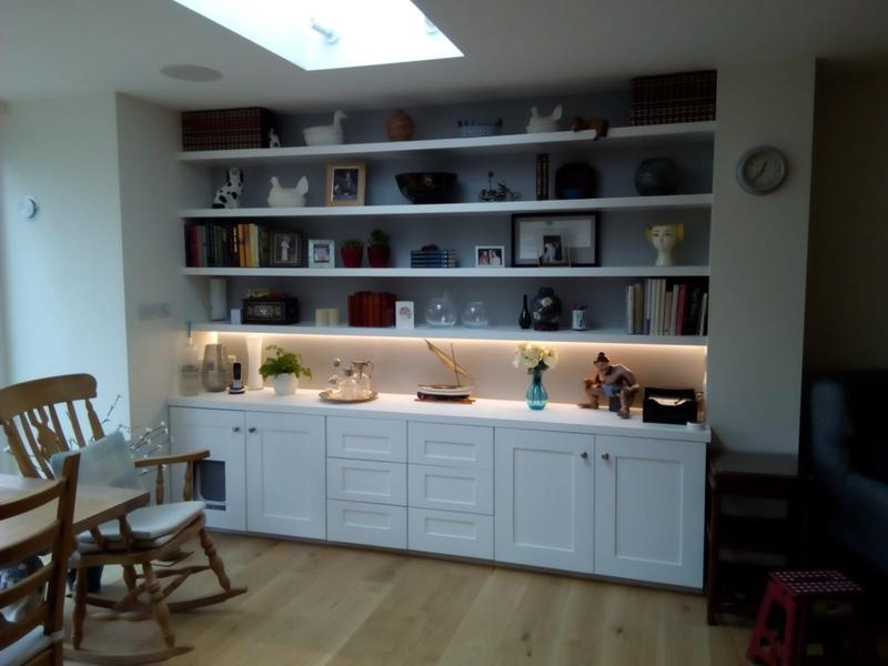 Image 13 - Bespoke cupboards and drawers with floating shelves above