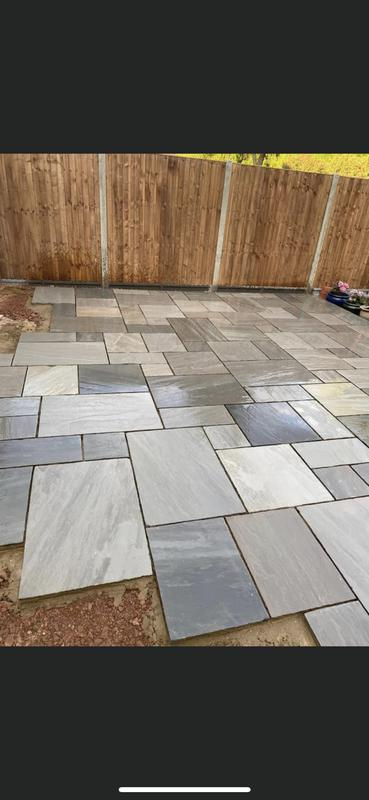 Image 132 - Mix grey Indian paving patio 100% level full concrete base