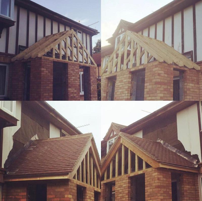 Image 52 - Small New Build Porch, Redland Concrete Plain Tile Sandface Brown - Knebworth, Hertfordshire