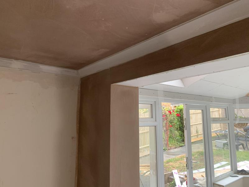 Image 30 - The knock through tidied up and 127mm coving installed by us.