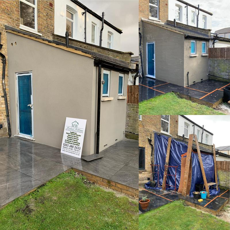 Image 12 - Coloured render system finish to extension...we have some weather issues this day