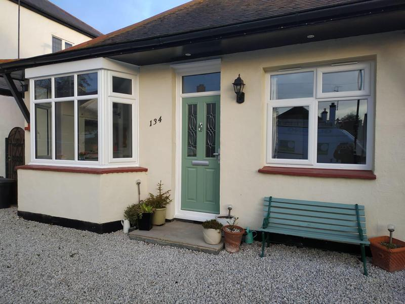 Image 17 - Leigh-on-Sea-White uPVC 3 part bay double glazed window, White uPVC casement double glazed window, composite door-chartwell green.