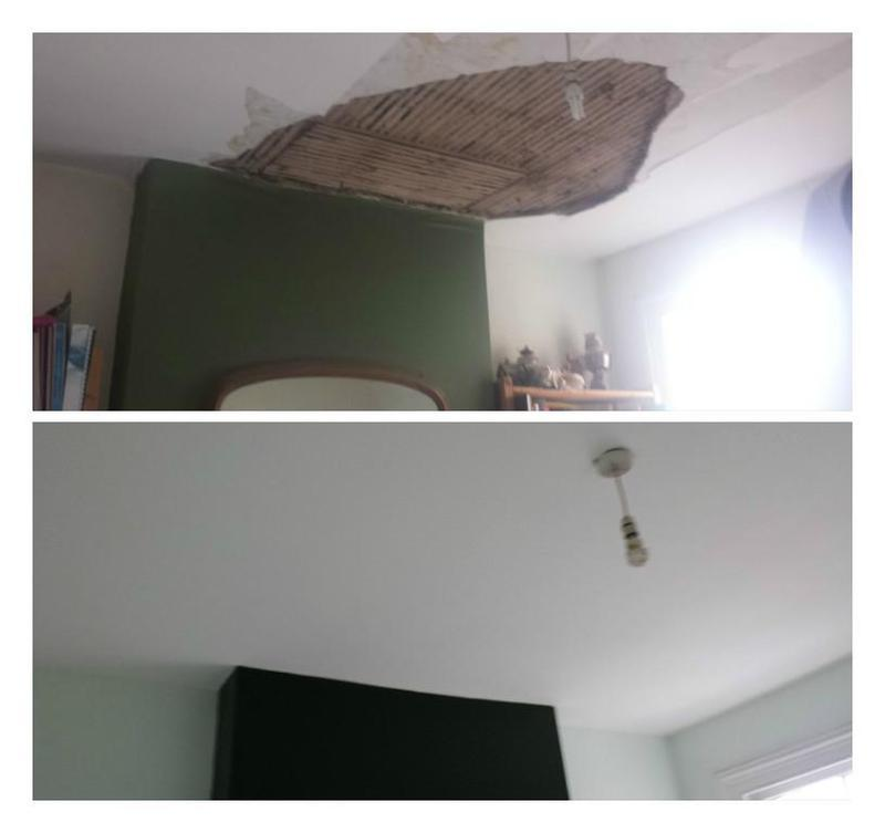 Image 112 - Repair of a collapsed ceiling including plastering and redecorating the room.