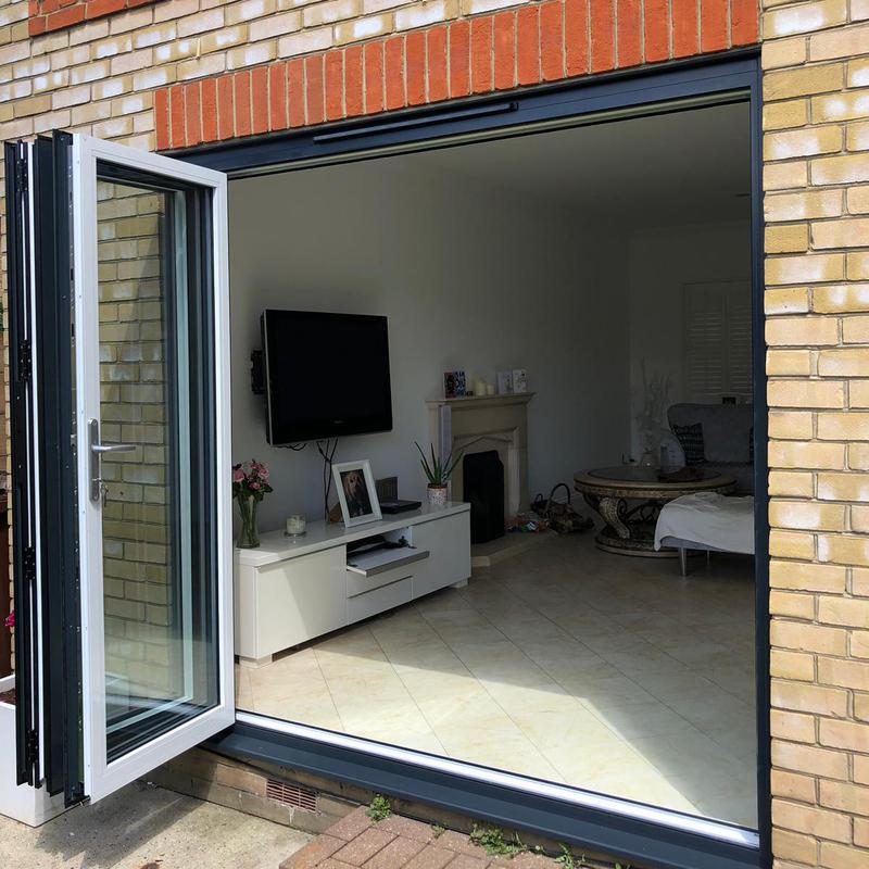 Image 50 - Aluminium-Bi-Fold-Doors-Anthracite-Grey-Open-Out-SpecialFX-Double-Glazing-Benfleet-Essex-2