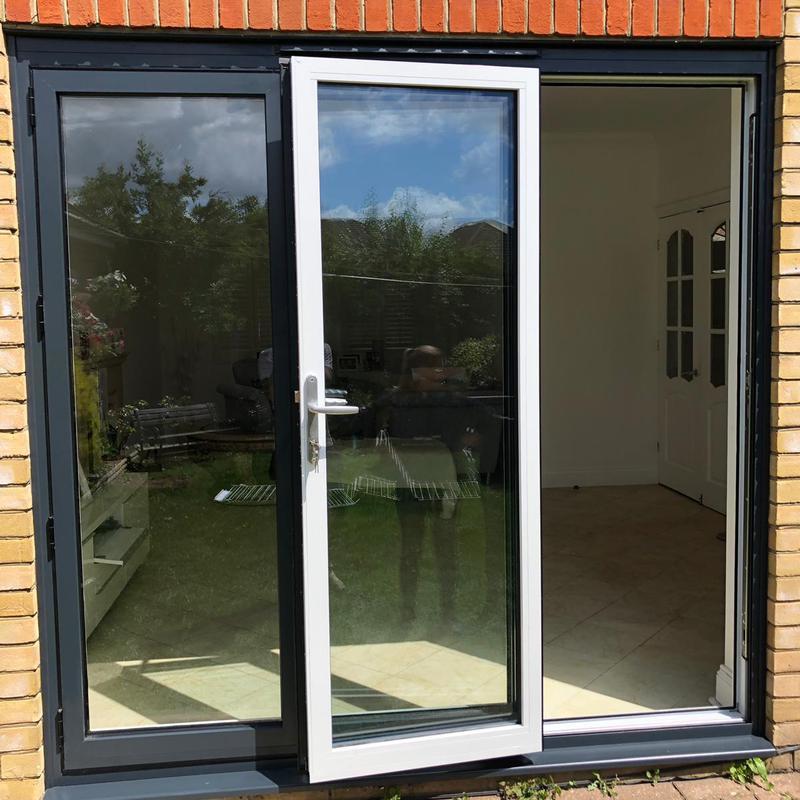 Image 4 - Aluminium-Bi-Fold-Doors-Anthracite-Grey-Open-Out-SpecialFX-Double-Glazing-Benfleet-Essex