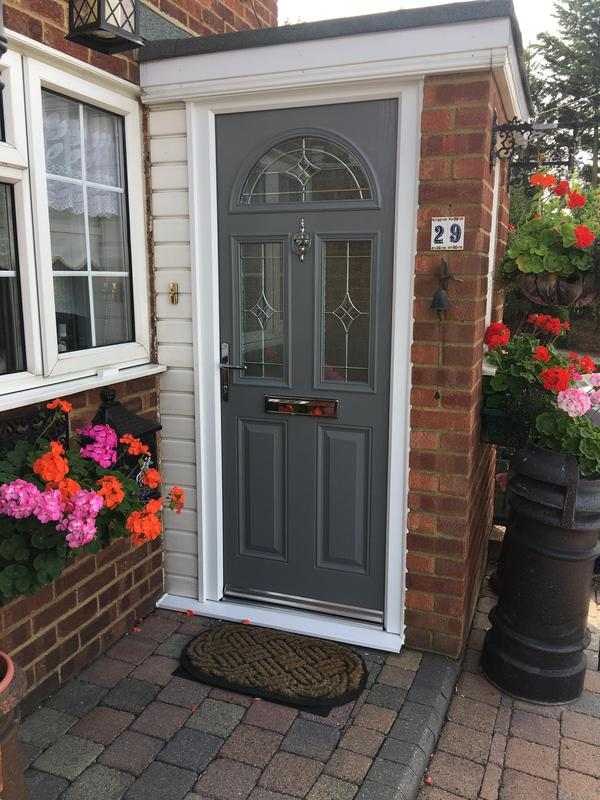 Image 7 - Dusty Grey Half Moon and middle door  with Platinum Elegance Glazing