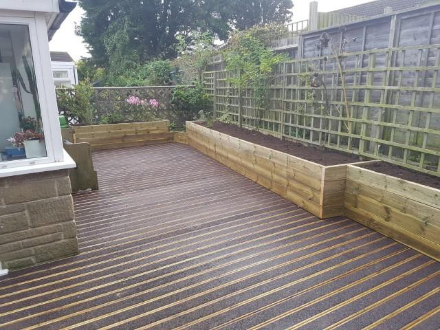 Image 109 - Anti slip decking and sleeper flower beds