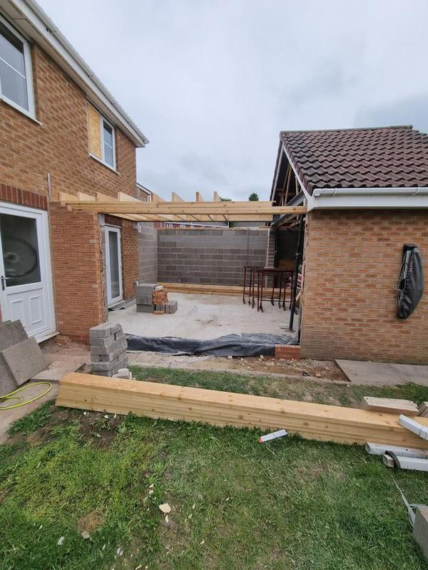 Image 41 - Ashton Under Lyne - During - Installing floor timbers on double story extension