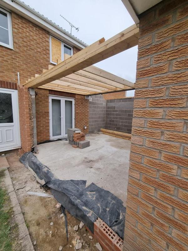 Image 42 - Ashton Under Lyne - During - Installing floor timbers on double story extension