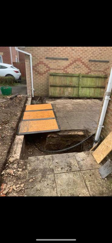Image 180 - Ashton Under Lyne double story extension - During - Getting foundations done, ready for concrete