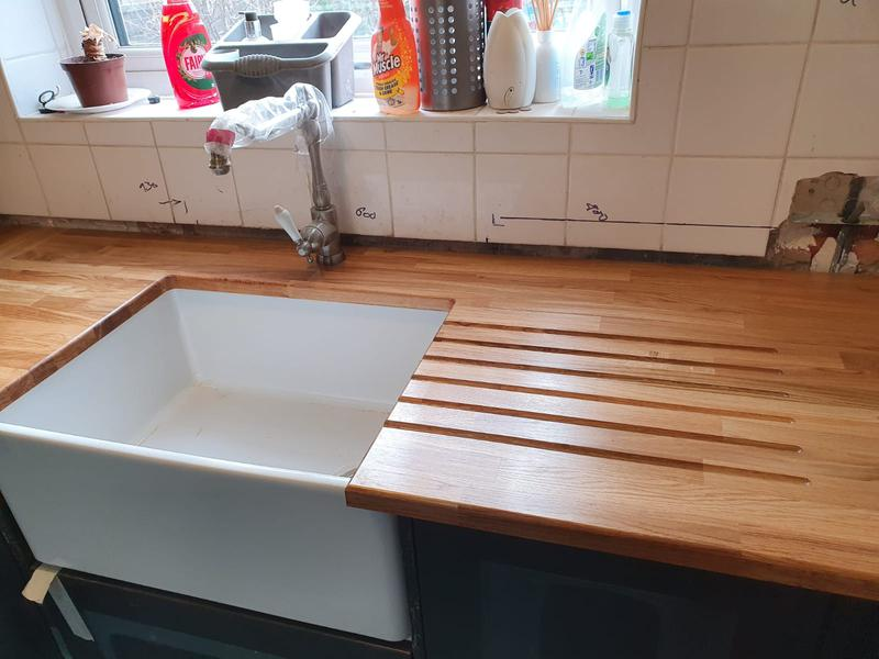 Image 4 - 22mm soild oak worktops with belfast and drainer grooves cut outs
