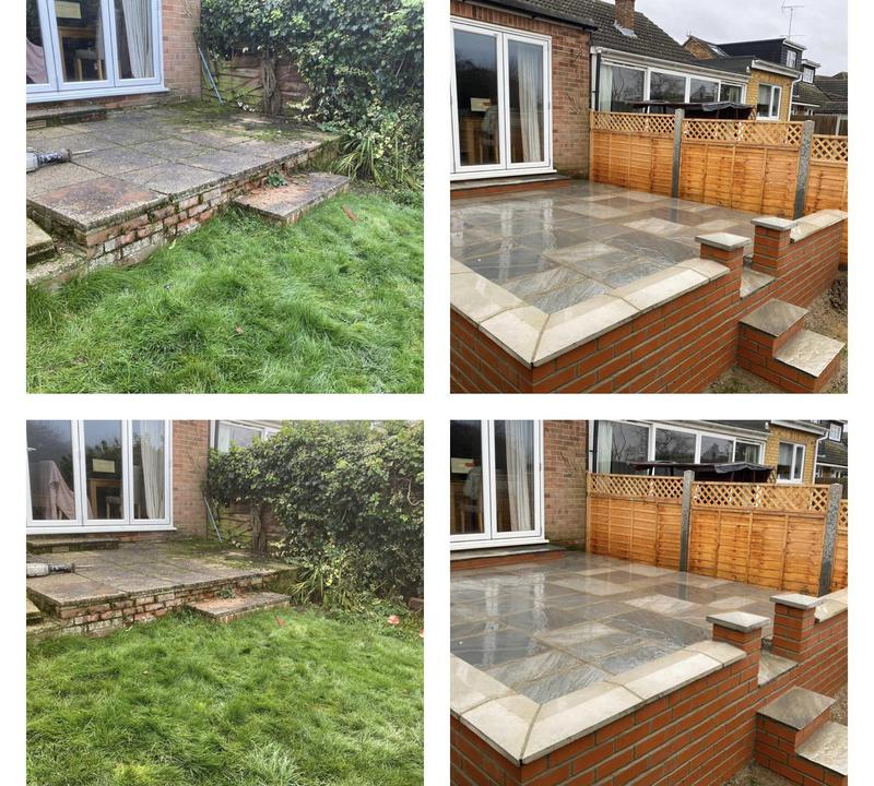 Image 15 - 28- New raised patio area with brick wall and steps. Indian sandstone slabs.