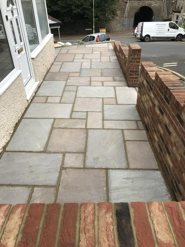 Image 7 - A fully constructed patio with indian sandstone to all area and point up to seal in dover