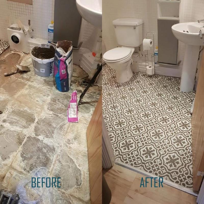 Image 12 - Before and after victorian bathroom floor tiling
