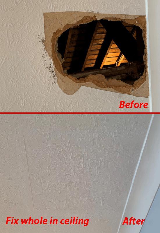 Image 7 - Repairing a bedroom ceiling.