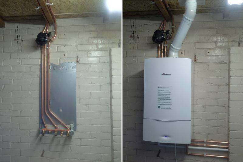Image 4 - Showing the stages of a Worcester combi boiler installation in a garage. Boiler came with a 10 year warranty.