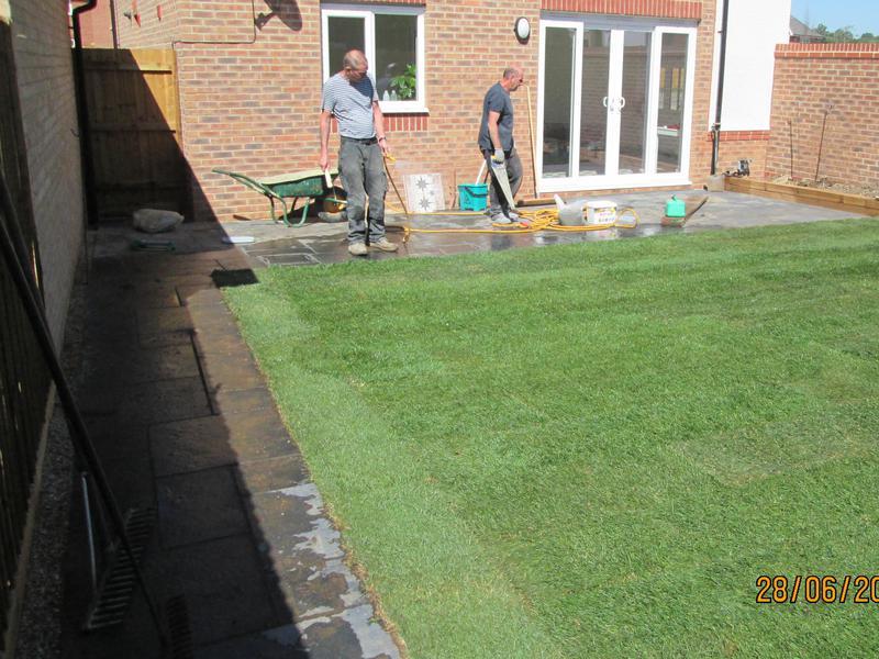 Image 21 - Dunstable lawn path patio sleeper wall