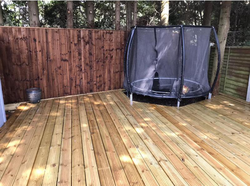 Image 24 - Back fencing,Decking, incorporating a trampoline...