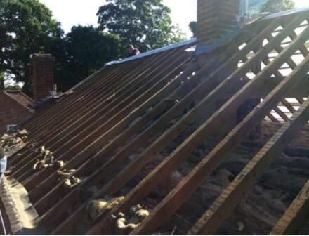 Image 6 - treating all rafters with a wood protector before felt and battening and replacing new tiles