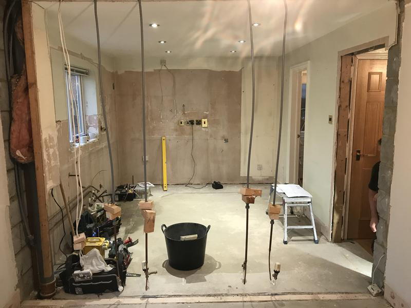 Image 24 - Customer 0092: Knocking the dining room through into the kitchen area to create a more open space. Full re-plaster, electrics, new kitchen and flooring to create customers dream room.