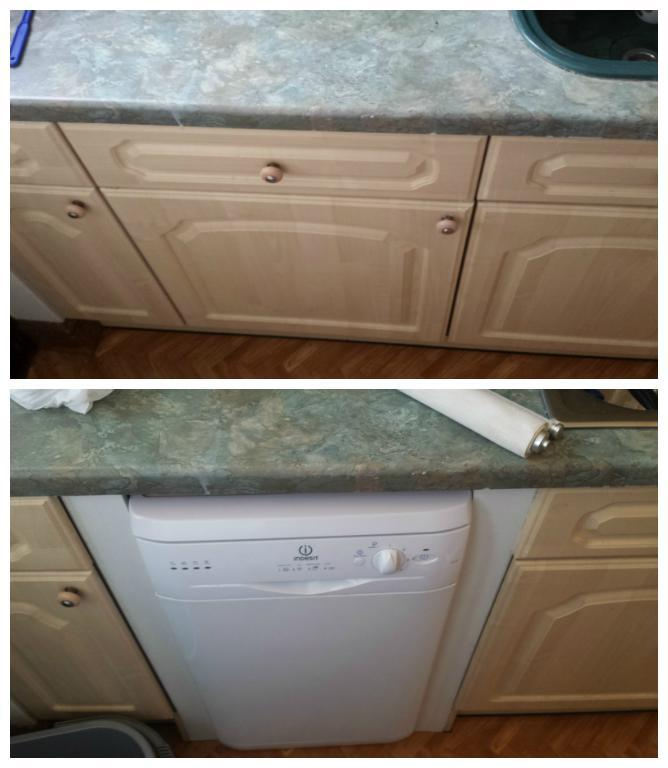 Image 20 - Installation of dishwasher to replace a kitchen cabinet.