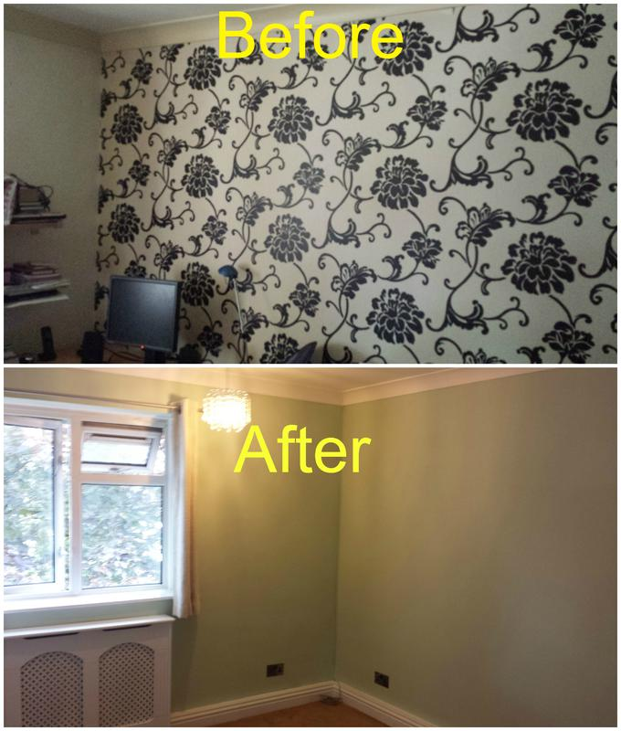 Image 107 - Wallpaper removed, wall plastered and the room decorated