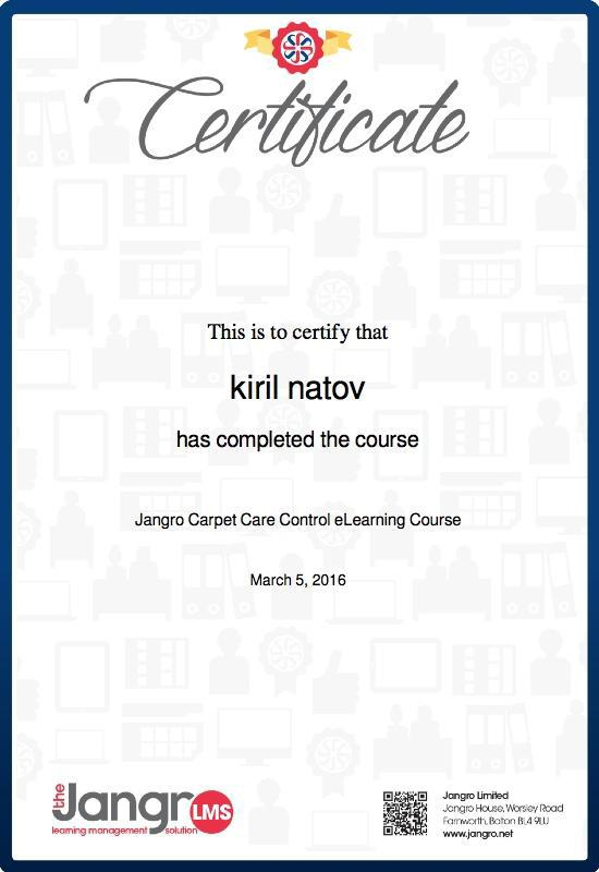 Image 21 - Jangle Carpet Care Certificate