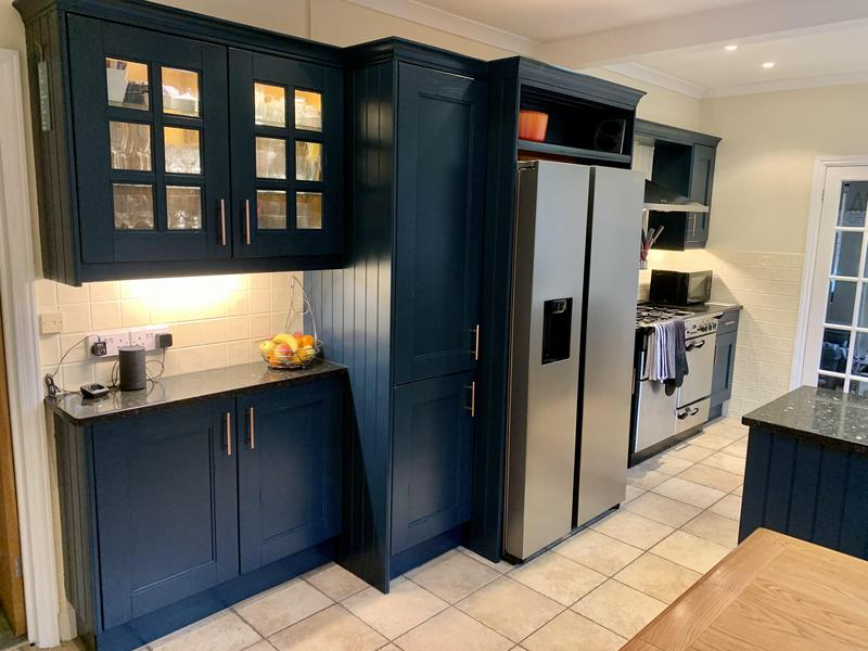 Image 1 - Hand painted traditional orange antique pine kitchen. New handles and Farrow & Ball Hague Blue Eggshell.