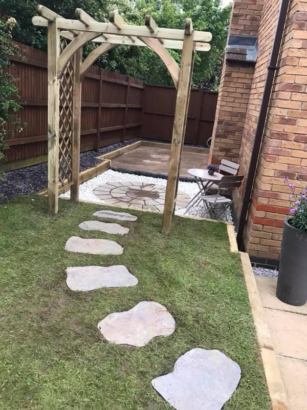 Image 22 - Concrete hot tub base, decorative stone with circle slab area, wooden pergoda and stepping stones installed for this garden re-vamp!