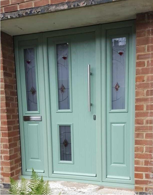 Image 14 - Clifton design Composite door with Bar handle and side panels in Chartwell Green
