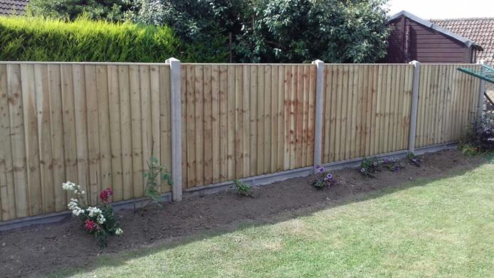 Image 132 - Closeboard fencing on concrete gravel boards and concrete posts