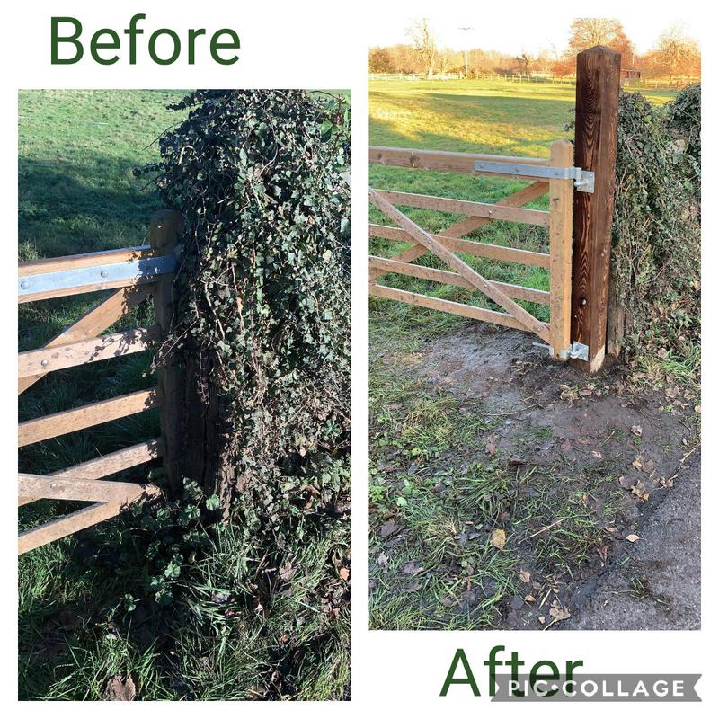 Image 2 - Gate post replaced at a local horse field