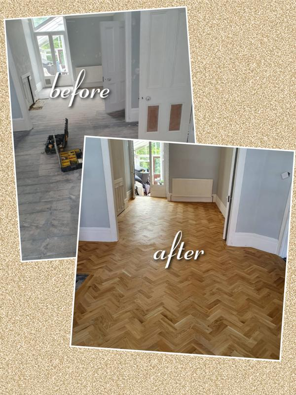 Image 21 - Supplied and fitted solid oak parquet with border