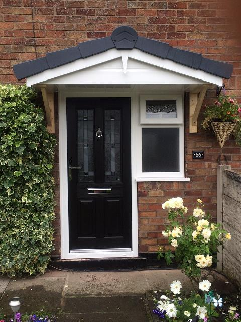 Image 22 - Black composite door . We also built the canopy to compliment it