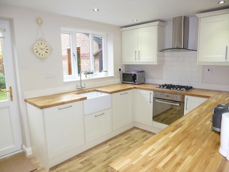 Image 29 -  Shaker style kitchen, oak block tops, belfast sink, integrated w/m & d/w