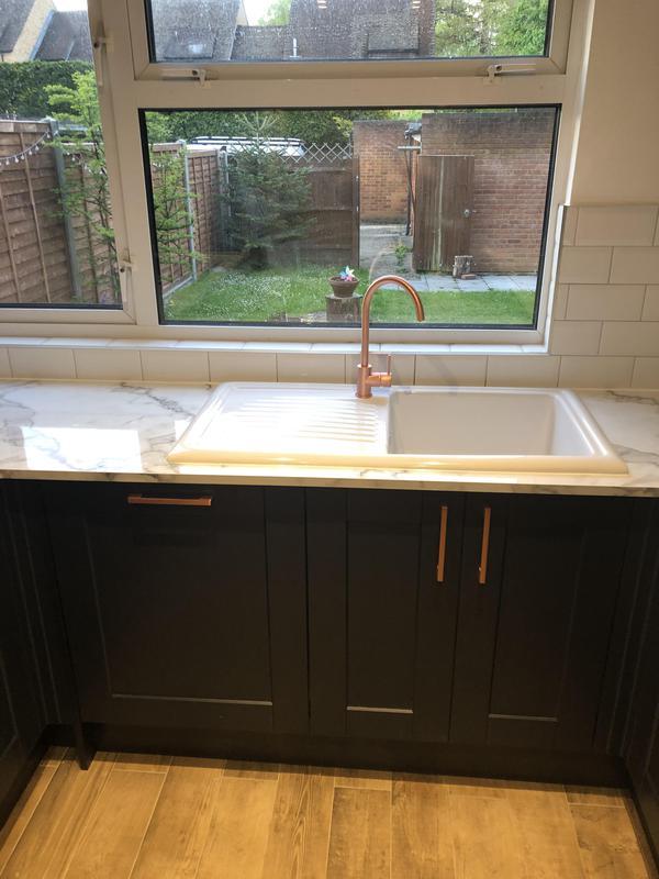 Image 12 - Full kitchen Refurbishment, new floor tiles wood effect new spot lights, metro tiles backsplash