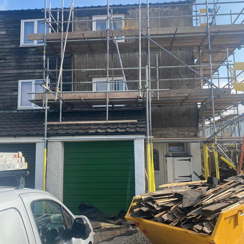 Image 18 - Wooden cladding removed ready for insulation boards.