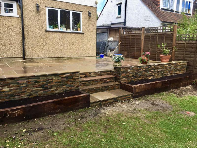 Image 7 - Indian Sandstone Buff Multi - Stoneface Drystack Walling in Copper Slate - Steps and Sleeper Flower Beds